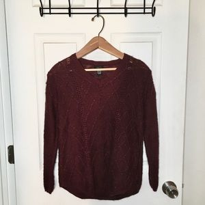 Deep Red Cozy Knit V Neck Layering Sweater